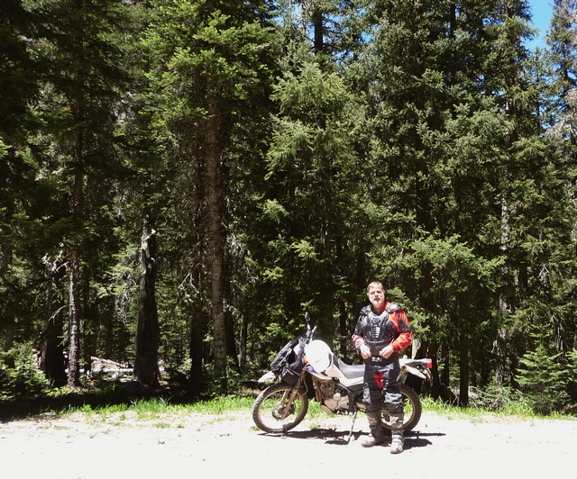 Motorcycle and me at south end of Middle Fork Road, Cimarron River.