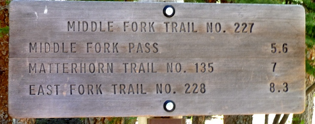 Sign at Trailhead for Forest Service Trail 227