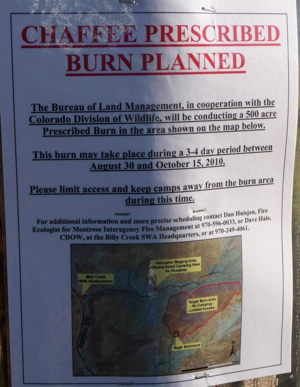 Sign with details about controlled burn