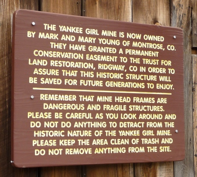 Sign at Yankee Girl mine