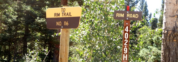 Rim Road Trail sign
