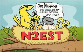 N2EST is a cartoonist and makes custom QSL cards. This is the card he sent me.