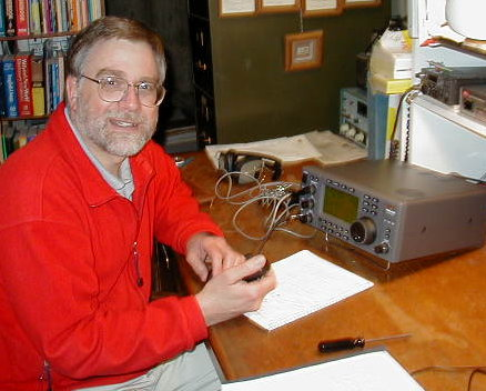 Dave, KEØOG, with his (then new) Ten-Tec Jupiter HF Radio