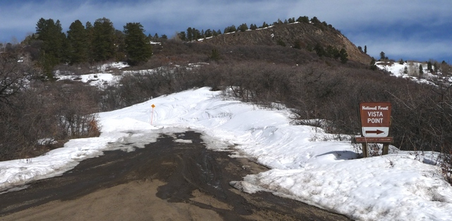 Owl Creek Pass Road is snow-covered past Vista Point