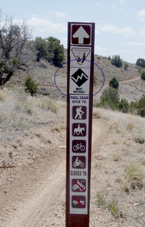 Sunset Rocks Trail warning sign.