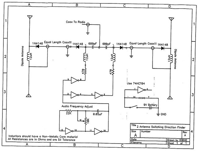 Transmitter Hunting Schematic from KIØHG