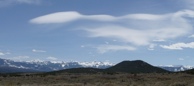Lenticular clouds over McKenzie Butte, taken from Pinion Ridge