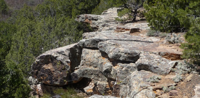 Dramatic, lichen-covered rocks on Pinion Ridge near Point A