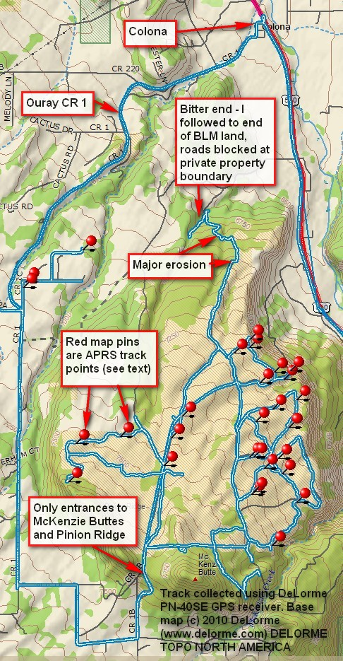Pinion Ridge vicinity map
