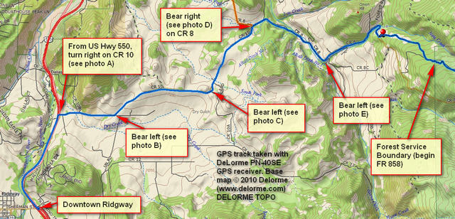 GPS map: from Ridgway to Owl Creek Pass