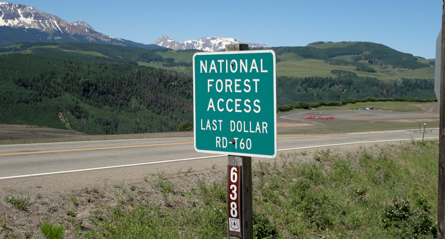 Last Dollar Road sign near Telluride Airport.
