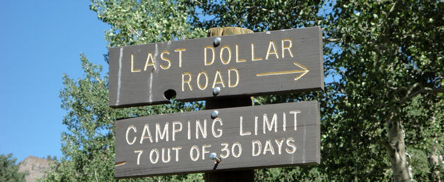 Last Dollar Road sign, also at Point C.