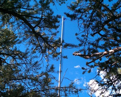 Antenna corner masts hidden in the trees