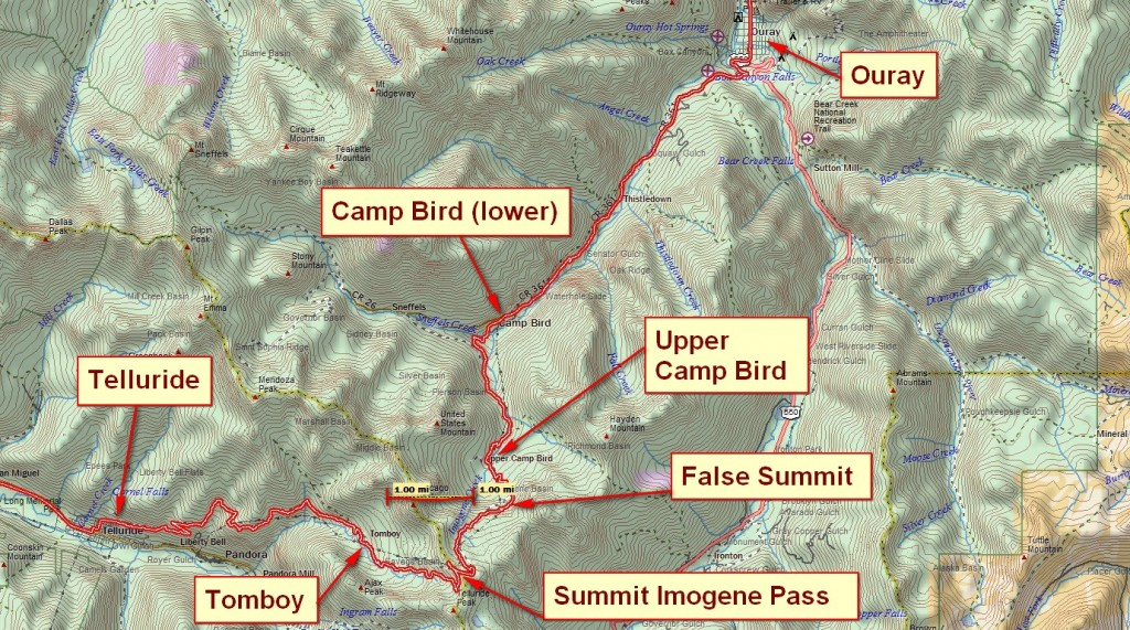 Imogene Pass GPS track