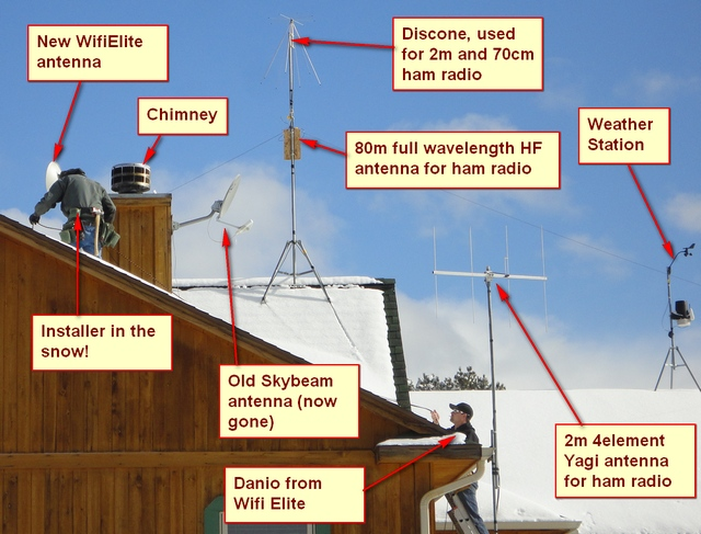 WifiElite installs the new antenna on Dec 28th. Note the snow--lots of snow!