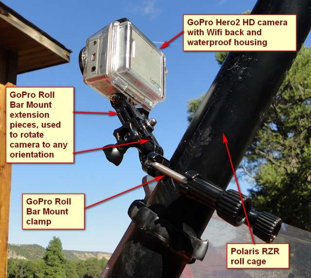 Here's the basic GoPro Roll Bar Mount. It consists of the clamp plus two extensions that allow the camera to be positioned at any angle. The problem is that the camera vibrates too much on this mount.