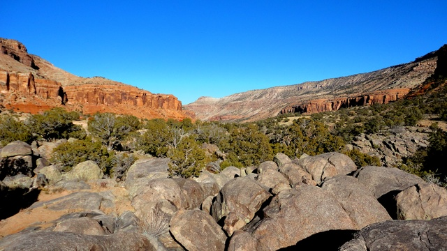 A very beautiful view looking down-canyon from the official campground