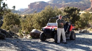 Gary and his Polaris RZR, a side-by-side two-seater. I have one similar. They're amazing little vehicles.