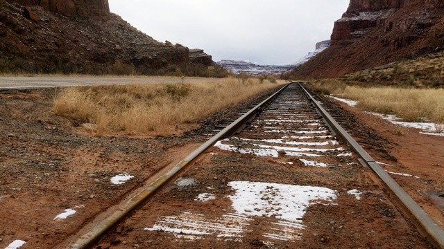 Moab, Potash Road: railroad tracks leading to the potash mine.