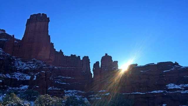 Moab, Highway 128, Fisher Towers, taken as the morning sun peeks through.