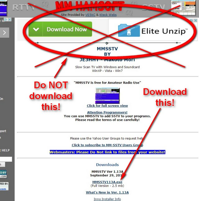 "When you download the software, beware! Do not click on the great big green box. That box downloads nasty ""adware."" Rather, download by clicking on the link as shown by the arrrow saying ""Download this!"""