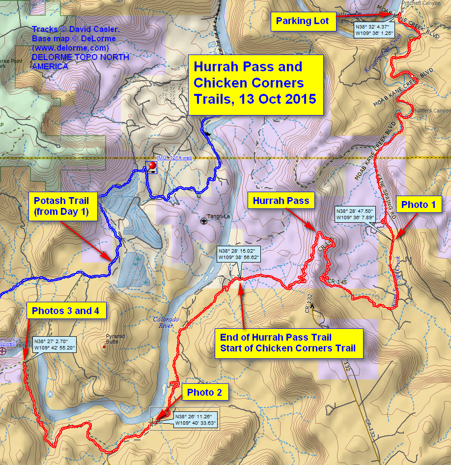 GPS trail of our travels along Hurrah Pass trail and Chicken Corners trail, shown in Red. The blue track on the other side of the river is Day 1's track.