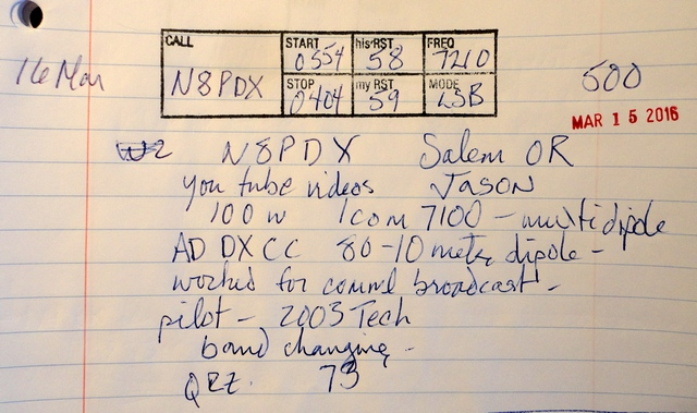 QSO details using the rubber stamp